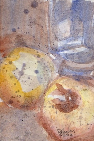 Watercolor 0302913002-Blue glass, apple and yellow ball