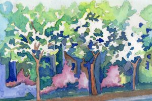 Spring and flowering trees-watercolor-040413001