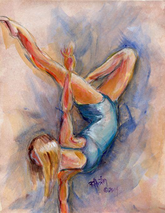 Dance 6, the hidden language 8x11, graphite and aqueous acrylic
