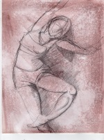 Dance 7 Process 1 8x11, graphite on toned paper