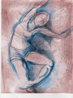Dance 7, process 2 8x11, graphite and acrylic on toned paper