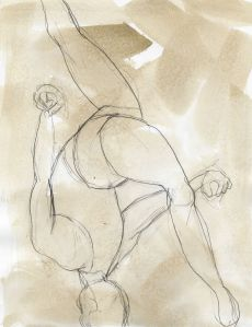 Dance 21, drawing 8x11, graphite on toned paper