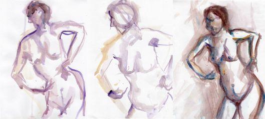Croquis 1, a triptych 24x11, acrylic