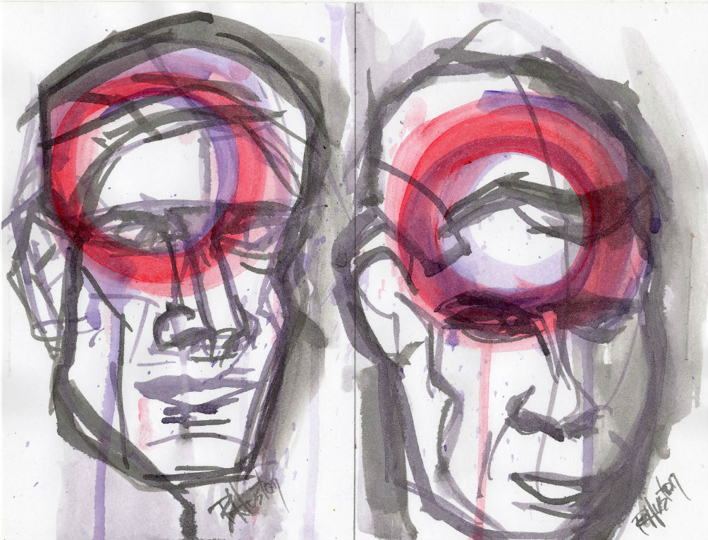 drawing heads 8, you have to feel the unseen acrylic and ink