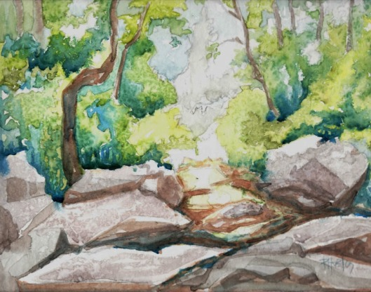 take me to the river 05 ...unnamed creek 12x9, watercolor on 300lb coldpress