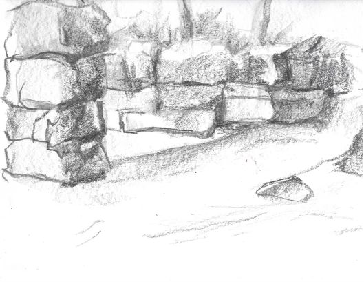 02 skull sketch 12x9, graphite
