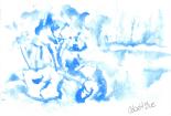 08 Skull Shoals, (03 Cobalt Blue) 5x7, Watercolor