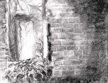 04 Skull Shoals ...another peek in the window 12x9, graphite