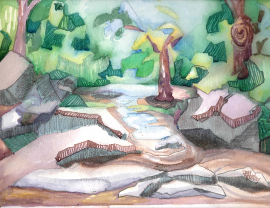 Rose Creek 05 12x9 on 11x14 140lb coldpress paper mixed media (watercolor and graphite)