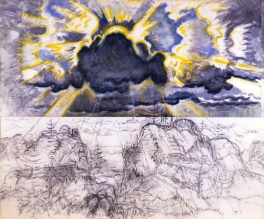 Charles E. Burchfield (1893-1967), Sunburst in October, 1960-63; Watercolor, charcoal and white chalk on joined paper mounted on board, 50 x 60 inches; Image from the Burchfield Penney Archives