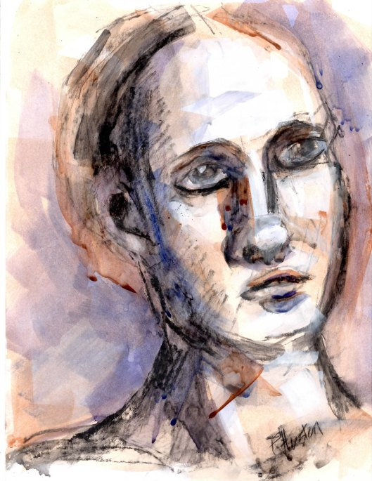 004 Gesture/porrtait<br /> 8.5x11, mixed media<br /> (charcoal, watercolor and gouache  on acrylic toned 110lb acid free