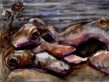 Bare roots 01...along the river 12x9, watercolor and charcoal