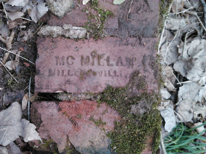 Mc Millan Brick found among the ruins of the hydroelectric plant in Ben Burton Park