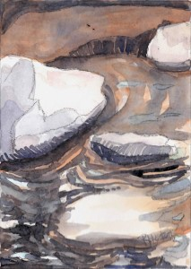 noname 04 ...rocks and reflections 5x7, mixed media (watercolor and charcoal)