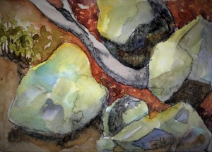 noname 05 ...moss covered rocks 7x5, mixed media (watercolor and charcoal)