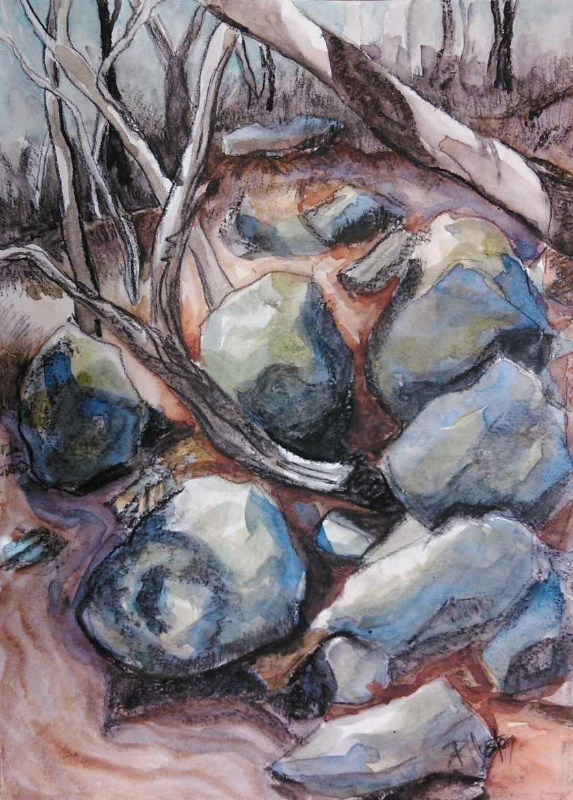 noname creek 07 ...moss covered rocks 11x15, charcoal and watercolor on 140lb Canson xl series coldpress
