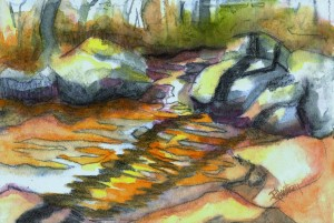 noname creek 08 study 2 11x7.5, watercolor and charcoal