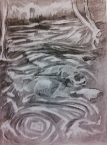 noname 09 creek ...meeting the Oconee process 2, 9x12, charcoal