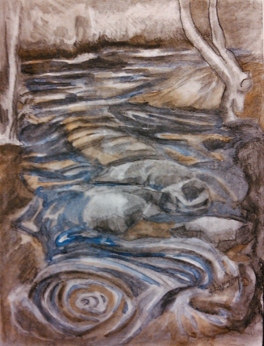 noname creek 09 ...meeting the Oconee 9x12, watercolor and charcoal