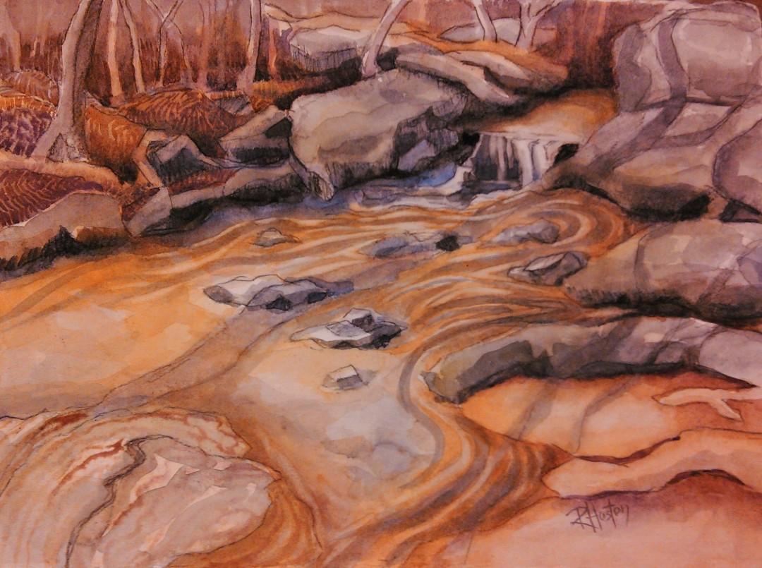 noname creek 08 ...rocks, shadows and shoals 15x11, watercolor and charcoal