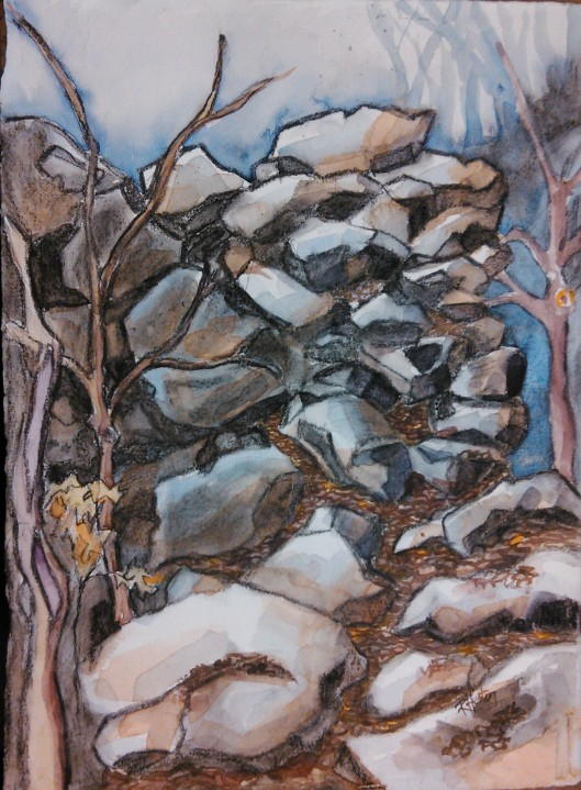 rockwall 02 ...sitting on top of the world 11x15, watercolor and charcoal on 140lb Arches coldpress