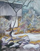Rose Creek 06 ...elder mill covered bridge 16x20, acrylic on canvas