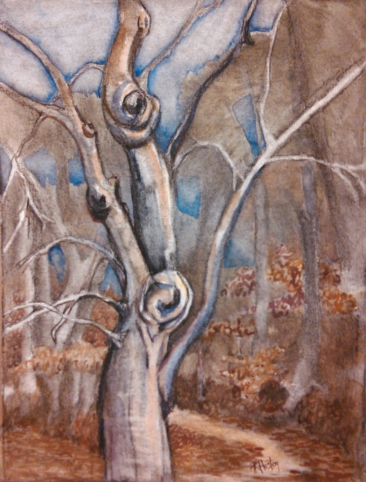 tree and path 01 11x15, watercolor and charcoal on 140lb Arches coldpress