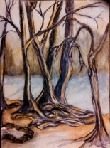 tree and path 03 ...late afternoon along the river 11x15, watercolor and charcoal on 140lb Canson coldpress