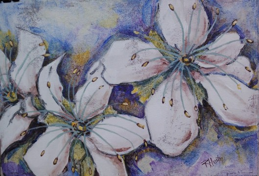 American Plum (Prunus americana) 12x9, aqueous acrylic and charcoal on muslin