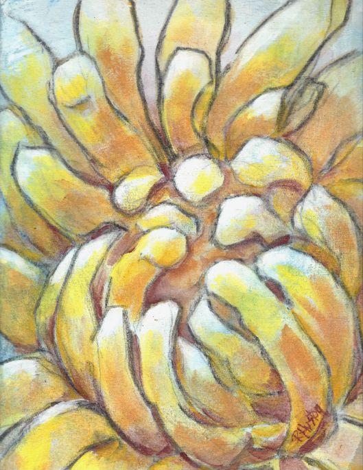 dandelion 01 9x12, acrylic on muslin