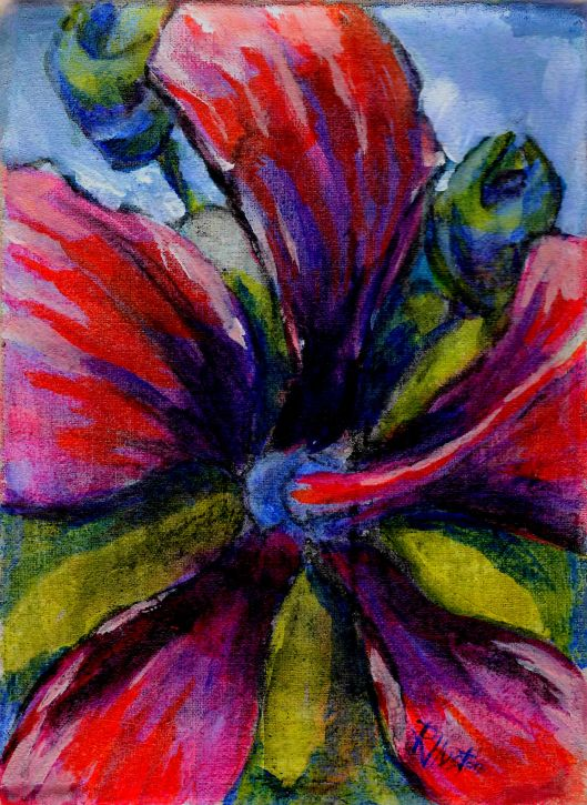 Swamp Hibiscus 5x7, acrylic and charcoal on muslin