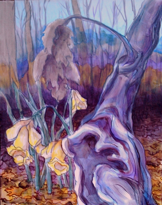 tree and path 05 ...excited about spring ...daffodils 16x20, acrylic on canvas