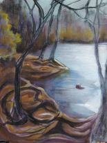 tree, path and river 01 11x15, aqueous acrylic on raw muslin