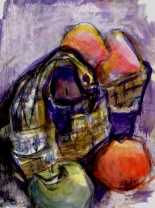 swan basket and apples 02 9x12, acrylic and charcoal