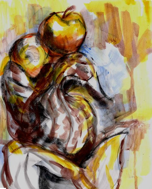 swan basket and apples 01 9x12, acrylic and charcoal