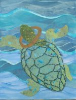 Turtle and Yoke cut paper collage