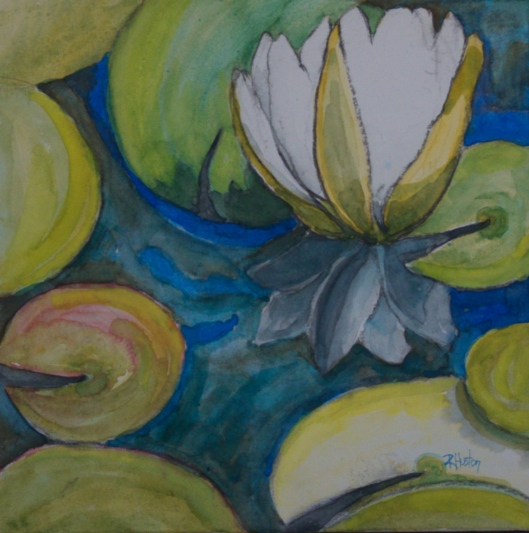 Botanical Garden 14 10x10, mixed media (watercolor and charcoal)
