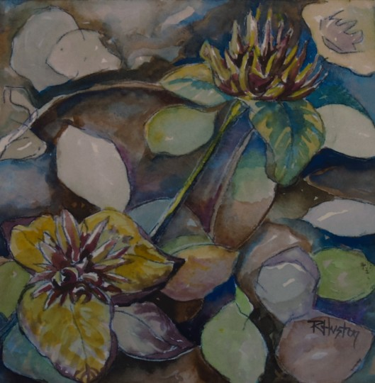 Botanical Garden 19 10x10, mixed media (watercolor and charcoal)