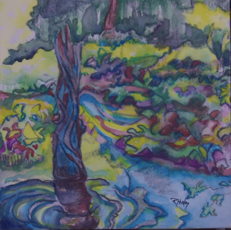 Botanical Garden 21... Beaver Pond 10x10, mixed media (watercolor and charcoal) ©Richard Huston Art 2015