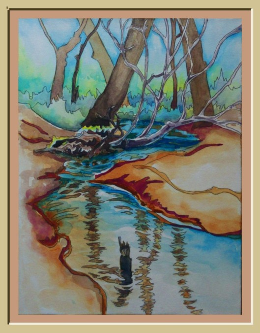 Botanical Garden 36... Beaver Pond Feeder Creek 9x12 Watercolor and Graphite
