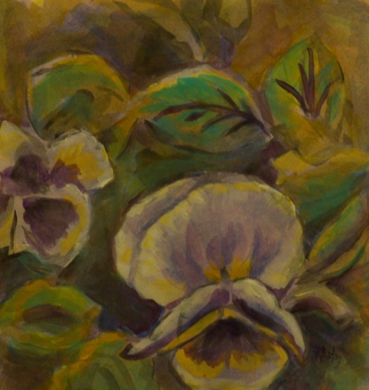 Botanical Garden 34... more pansies 8x8 on acid free cardstock, aqueous acrylic